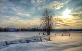 Картинка зима, снег, природа, дом, фото, дерево, Россия