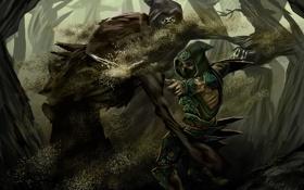 Обои песок, лес, меч, воин, арт, капюшон, битва