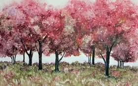 Обои фон, деревья, картина