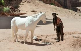 Обои Johnny Depp, мужик, актер, Джонни Депп, The Lone Ranger, Одинокий рейнджер, Tonto