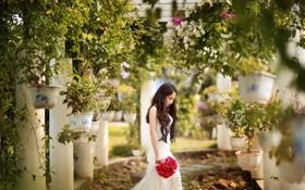 Картинка лето, девушка, цветы, сад, азиатка