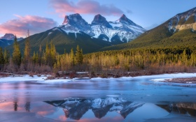 Обои Alberta, Canmore, Three Sisters