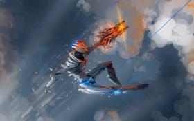 Обои облака, Робот, осколки, броня, падение, лучи, оружие