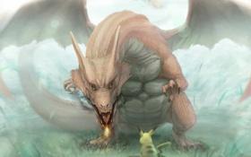 Картинка дракон, крылья, арт, pokemon, pikachu, lif-ppp, lif
