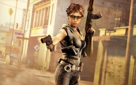 Картинка девушка, пистолет, очки, автомат, The Cartel, Call Of Juarez