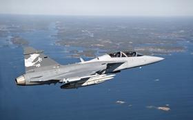 Обои полет, истребитель, Saab, бомбардировщик, пилоты, суша, многоцелевой