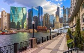 Обои город, река, небоскребы, Чикаго, набережная