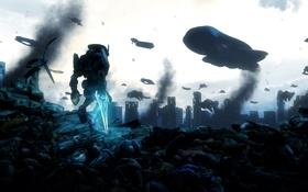 Картинка город, смерть, война, руины, битва, трупы, spaceship