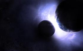 Обои свет, звезда, планета, спутник, пояс астероидов