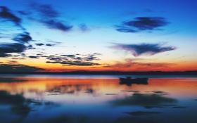Обои небо, озеро, sunset