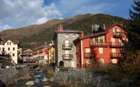 Картинка небо, горы, город, река, камни, фото, Италия