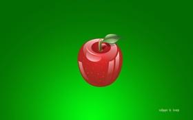 Обои красный, яблоко, еда, зелёный