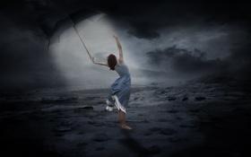 Обои девушка, ночь, зонт