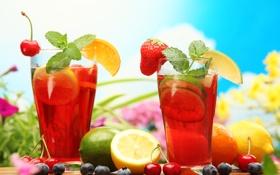 Обои лимон, черника, клубника, лайм, черешня, фруктовый напиток