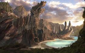 Картинка море, пейзаж, скалы, берег, дракон, дома, арт