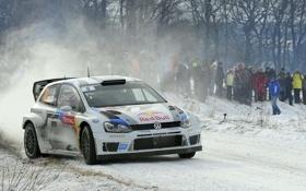 Обои Зима, Белый, Снег, Спорт, Volkswagen, Машина, Люди