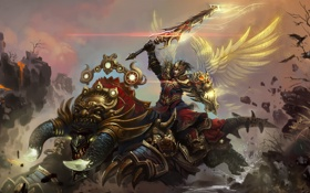 Картинка крылья, монстр, меч, воин, арт, ящер, лава