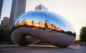 Картинка отражение, Чикаго, Chicago, Иллиноис, монумент, millennium park, Spaceship Earth