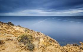 Обои море, берег, штиль, водная гладь