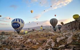 Обои пейзаж, спорт, Cappadocia, шары