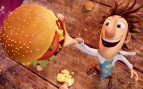 Обои мультфильм, гамбургер, ученый, Cloudy with a Chance of Meatballs