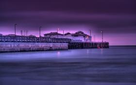 Картинка море, ночь, огни, берег, горизонт, фонари, Калифорния