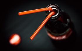 Обои бутылка, Макро, трубочка, coca-cola, кока-кола, macro