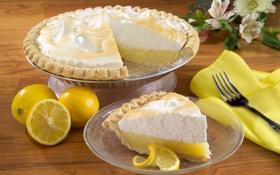 Обои лимон, еда, пирог, торт, lemon, пирожное, cake