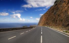 Обои дорога, море, пейзаж, гора