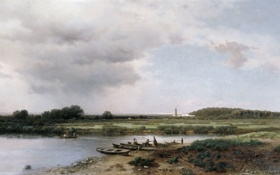 Обои картина, Каменев, Вид на реку Казанку