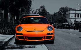 Обои дорога, car, авто, оранжевый, улица, 911, стоянка
