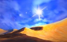 Обои песок, солнце, пустыня, жара, арт, дюна