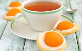 Обои чай, чашка, абрикос, крем, блюдце, печенье-яичница, пасхальное печенье