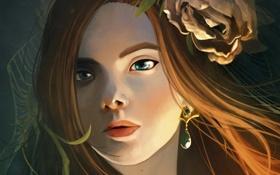 Обои цветок, девушка, лицо, увядший