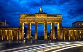 Обои дорога, ночь, город, выдержка, Германия, архитектура, Germany