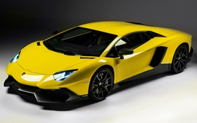 Обои желтый, Lamborghini, суперкар, LP700-4, Aventador, ламборгини, 50 Anniversario Edition
