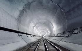 Обои дорога, рельсы, даль, железная, тунель, кабеля