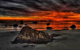 Картинка камни, небо, море, берег, отлив, зарево, пейзаж