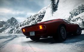 Обои дорога, снег, горы, спорткар, классика, ракурс, Need for Speed The Run
