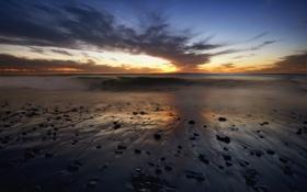 Обои море, закат, United States, California, San Diego, Point Loma