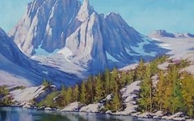 Обои лес, горы, рисунок, арт, artsaus, sierra mountains nevada