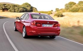 Обои Красный, BMW, Машина, Бумер, Поворот, День, Седан