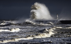 Картинка stormy, Seaham Pier, north sea, County Durham