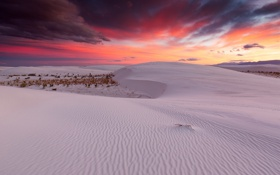Картинка New Mexico, White Sands National Monument, colorful sunset