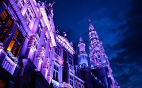 Обои Брюссель, Бельгия, небо, дома, ночь, тучи, огни