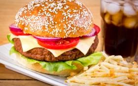 Обои зелень, гамбургер, картофель фри, greens, French fries, burgers