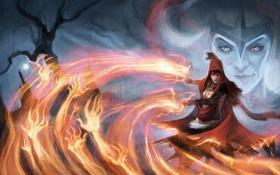 Картинка девушка, огонь, магия, арт, ведьма, старуха, Dragon Age