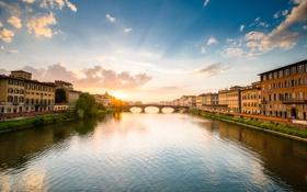 Обои небо, солнце, река, дома, Италия, Флоренция, Арно