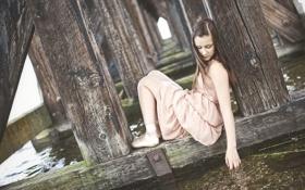 Картинка мост, река, настроение, девочка