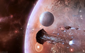 Обои космос, звезды, планета, корабли, астероиды, eve online, флотилия